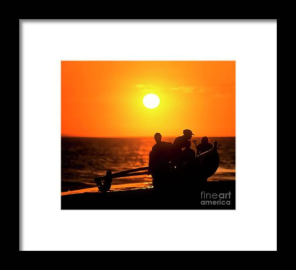 Hawai'i Framed Print featuring the photograph Kaanapali Beach Outrigger Sunset by Jim Cazel