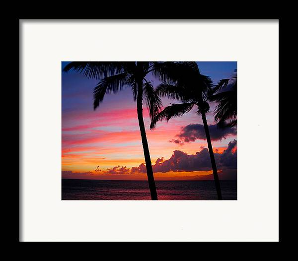Kaanapali Sunset Framed Print featuring the photograph Kaanapali Sunset Kaanapali Maui Hawaii by Michael Bessler