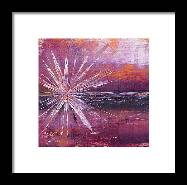 Landscape Framed Print featuring the painting Kaboom by K Batson Art