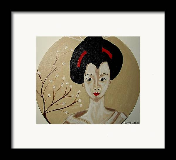 Japanese Framed Print featuring the painting Kabuki Girl by Rusty Gladdish