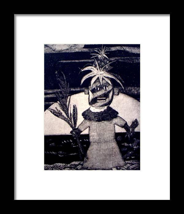Print Framed Print featuring the mixed media Kachina Goes Hawaiian by Patricia Bigelow