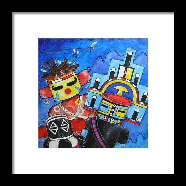 Native Framed Print featuring the painting Kachina Knights by Elaine Booth-Kallweit