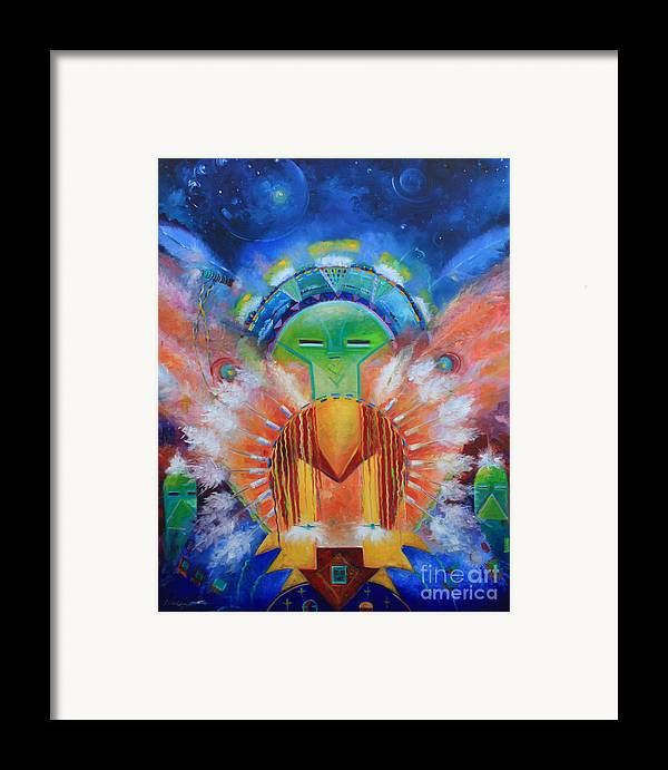 Native American Framed Print featuring the painting Kachina Spirit by Gail Salitui