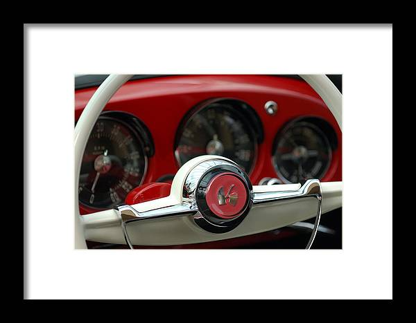 Car Framed Print featuring the photograph Kaiser Steering Wheel by Jill Reger
