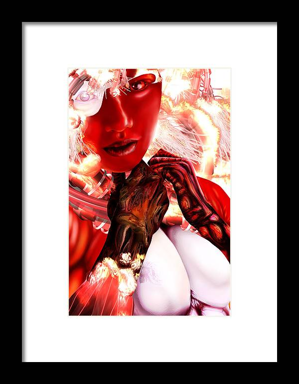 Embrace The Dark Military Science Fiction Horror Futuristic Weapons Battle Armor Brazil Russia British Soldier Dark Matter Electromagnetism Graphic Novel Bandes Designees Manga Framed Print featuring the digital art Kaji From Tokyo Evolved by Claude-Robert Policart