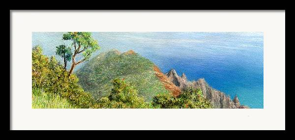 Rainbow Colors Pastel Framed Print featuring the painting Kalalau View by Kenneth Grzesik