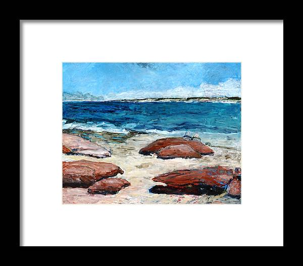 Seascape Framed Print featuring the painting Kalbarri Beach by Joan De Bot