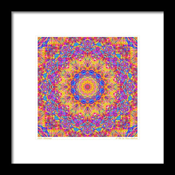 Mandala Framed Print featuring the digital art Kaleido - Rubiat 20a - Sq by Terry Anderson