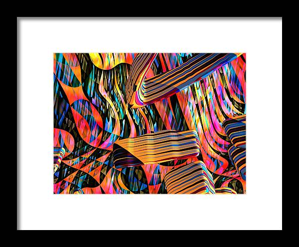 Abstract Art; Digital Art; 3-d Rendering Framed Print featuring the digital art kaleido Calligraph 10x11m3n27m5aa by Terry Anderson