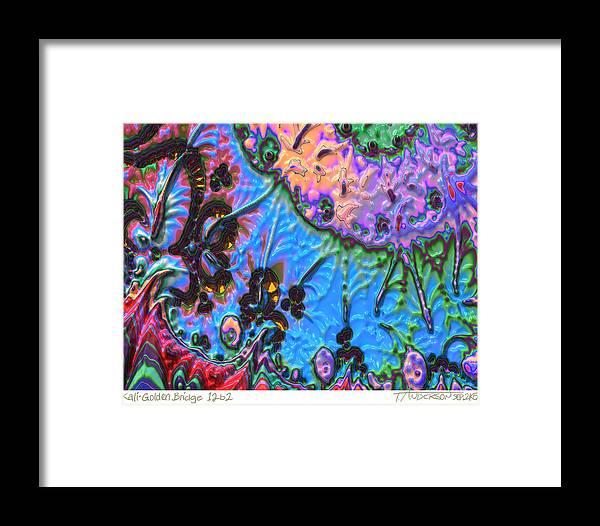Fractal Image Framed Print featuring the digital art kaleido fa-GoldenBridge12b2 by Terry Anderson