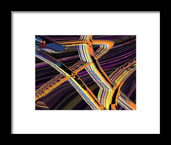 Abstract Art; Digital Art; Bryce 3-d; Calligraphy; Computer Art; Photo-realistic Rendering Framed Print featuring the digital art kaleido-Papillon Callg.10x11m23i by Terry Anderson