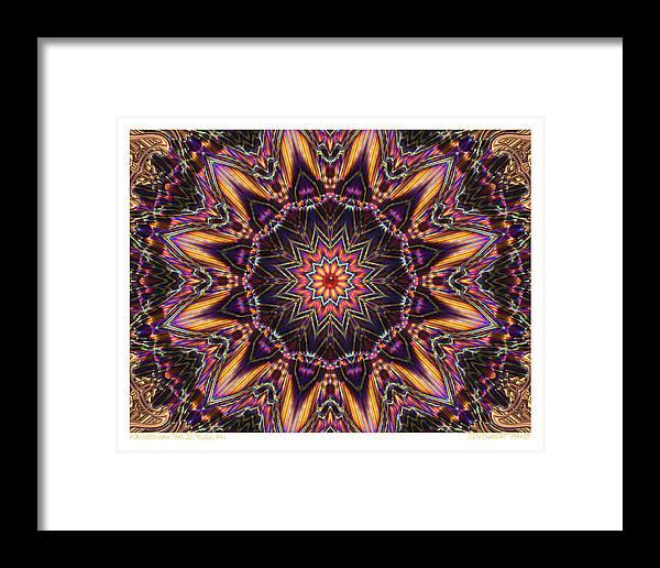 Kaleidoscopes; Mandala Images; Autumn Colors; Kaleidoscopic Art Framed Print featuring the digital art kaleido Perf10 9cAvi 44 by Terry Anderson