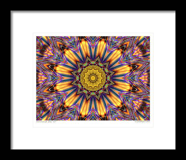 Kaleidoscopes; Mandala Images; Digital Art; Psychedelic Art; Op Art; Mytical Art Framed Print featuring the digital art kaleido Perfect 10ae 12-plus by Terry Anderson