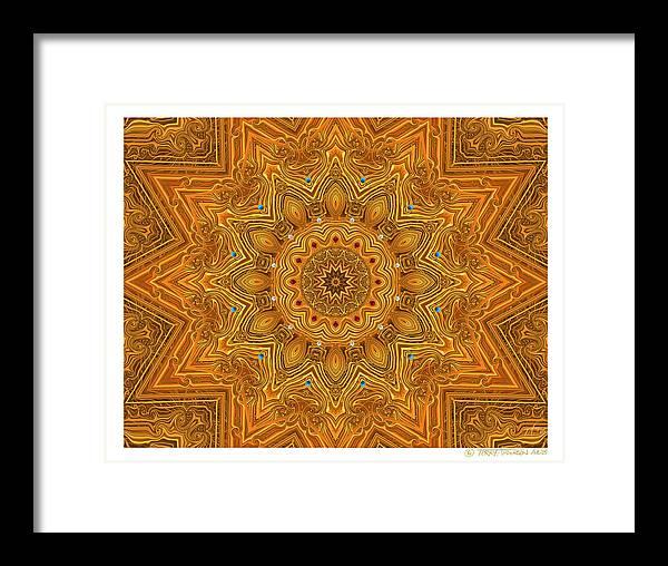 Kaleidoscope; Golden Mandala; Gold Framed Print featuring the digital art kaleido Prf10 X7x 17b by Terry Anderson