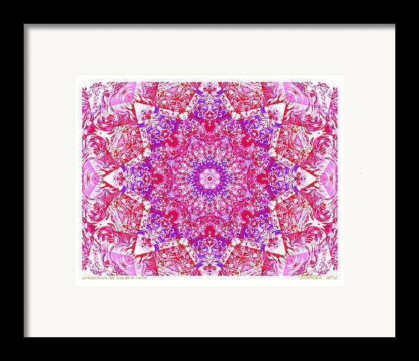 Kaleidoscope; Mandala; Valentine Colors; Red Framed Print featuring the digital art Kaleido Red Rubi 8 by Terry Anderson