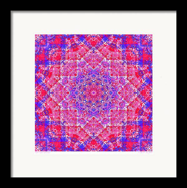 Kaleidoscope Framed Print featuring the digital art kaleido-Rubiat-3D Sq 53d Kwilt by Terry Anderson