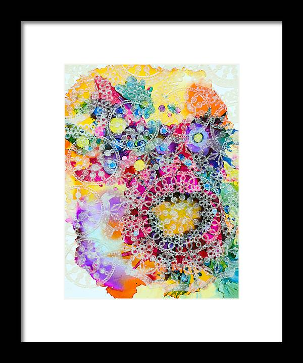 Abstract Framed Print featuring the painting Kaleidoscope - B by Sandy Sandy