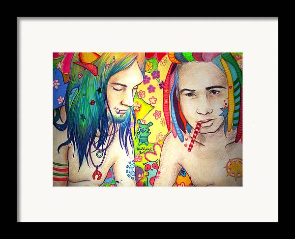 Colours Framed Print featuring the drawing Kamil And Louis by Freja Friborg