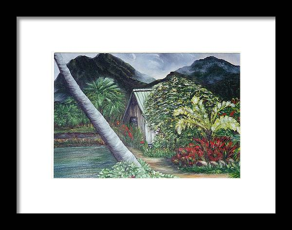 Landscape Framed Print featuring the painting Kanaka House by Laura Johnson