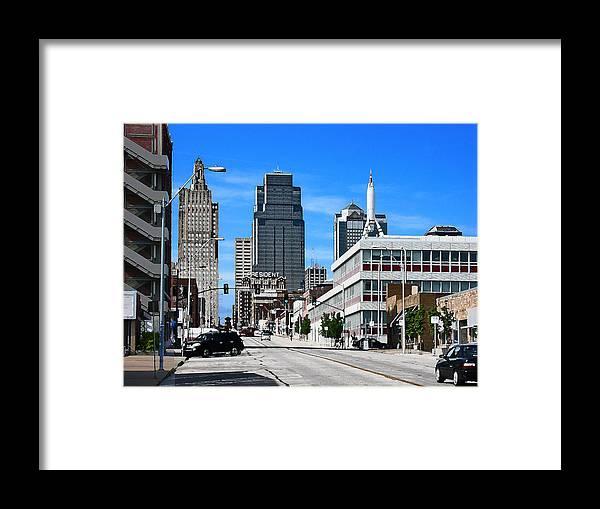 City Scape Framed Print featuring the photograph Kansas City Cross Roads by Steve Karol