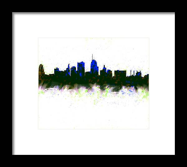 Kansas City Framed Print featuring the painting Kansas City Skyline Blue by Enki Art