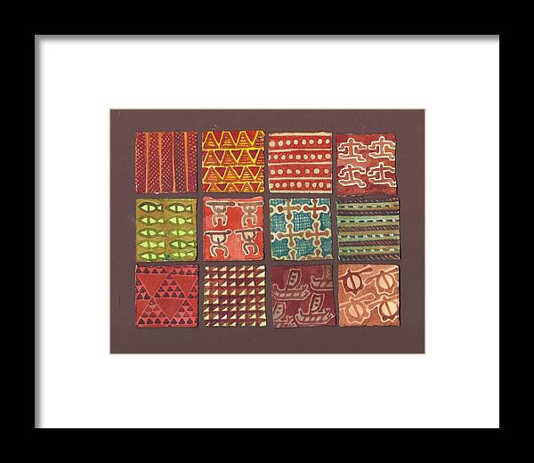 Quilt Framed Print featuring the painting Kapa Squares 3 by Cynthia Conklin