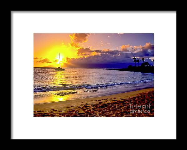 Scenics Framed Print featuring the photograph Kapalua Bay Sunset by Jim Cazel