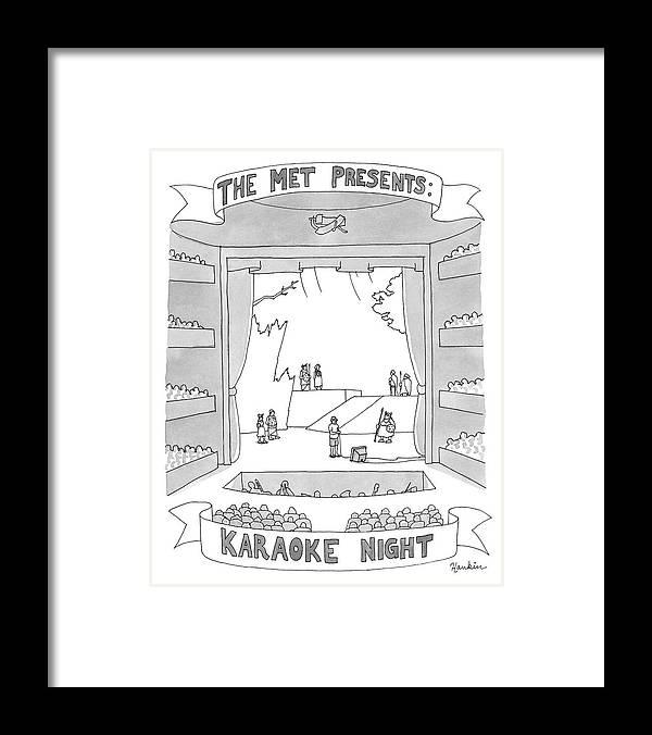 The Met Presents: Karaoke Night Framed Print featuring the drawing Karaoke Night by Charlie Hankin
