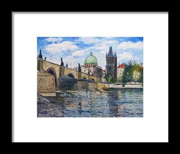 Prague Framed Print featuring the painting Karlov Most Pargue Czech Republic 2001. by Enver Larney