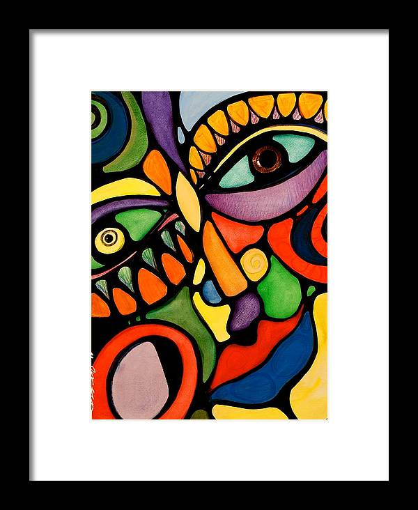 Abstract Framed Print featuring the painting Karma by Maya Green
