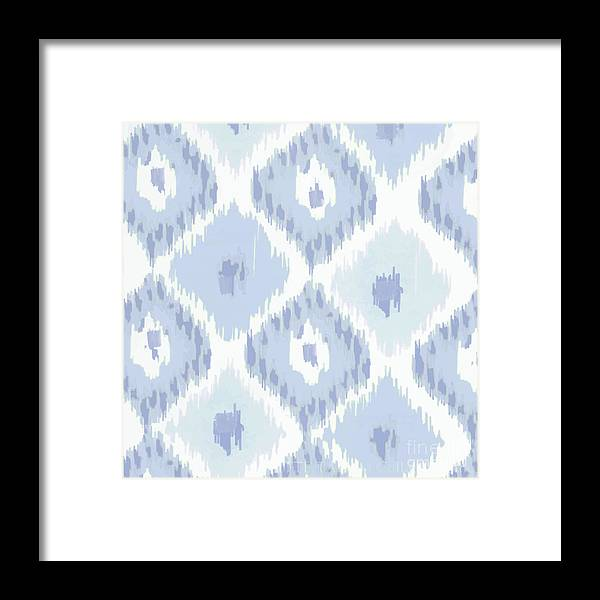 Ikat Framed Print featuring the painting Kasbah Blue Ikat by Mindy Sommers