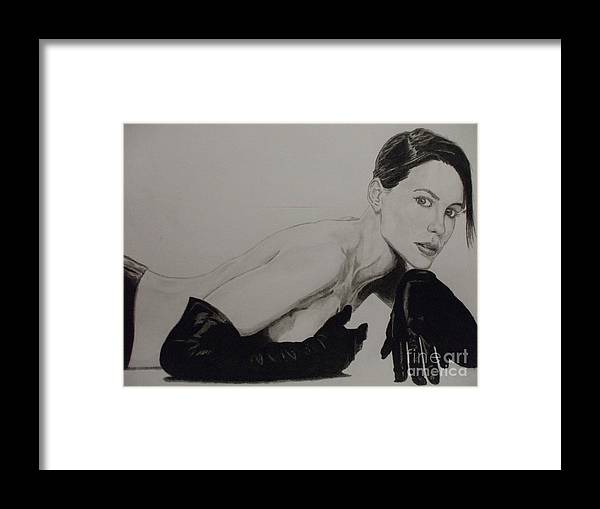 Kate Framed Print featuring the drawing Kate Beckinsale by John Prestipino