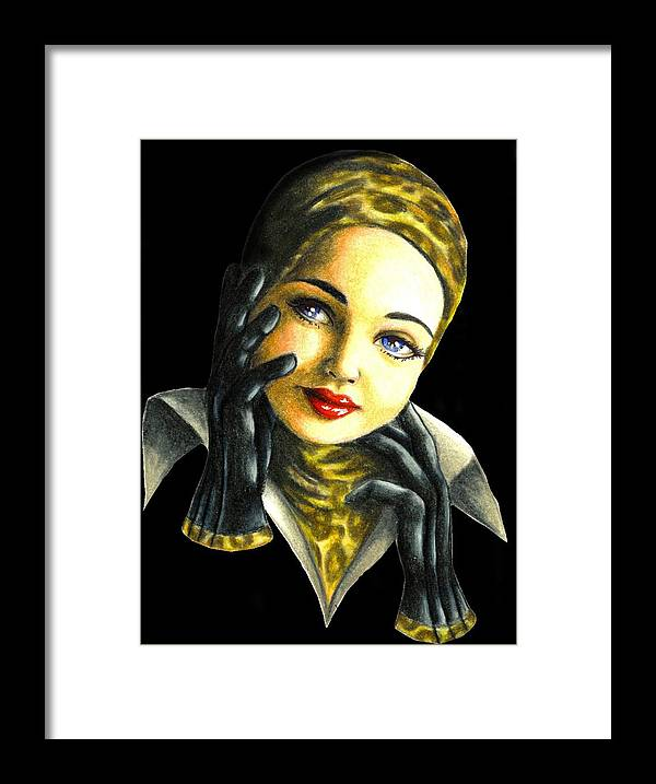 Classic Framed Print featuring the drawing Kathrine by Scarlett Royal