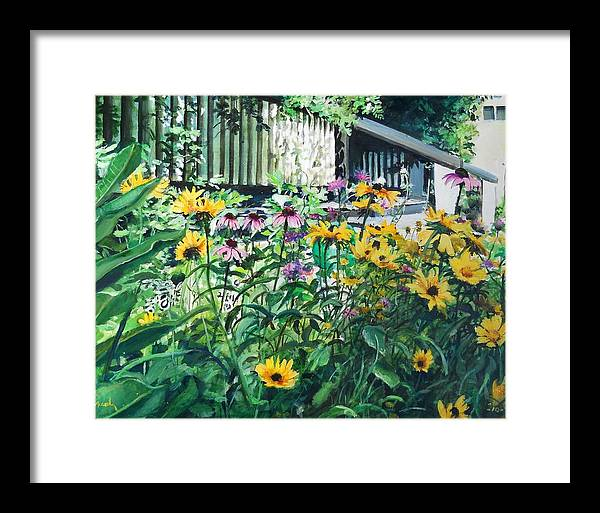 Flowers Yellow Framed Print featuring the painting Kathys Garden by William Brody