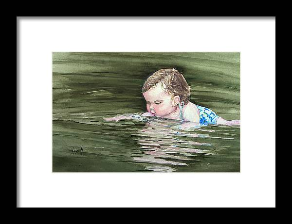Child In River Framed Print featuring the painting Katie Wants A River Rock by Sam Sidders