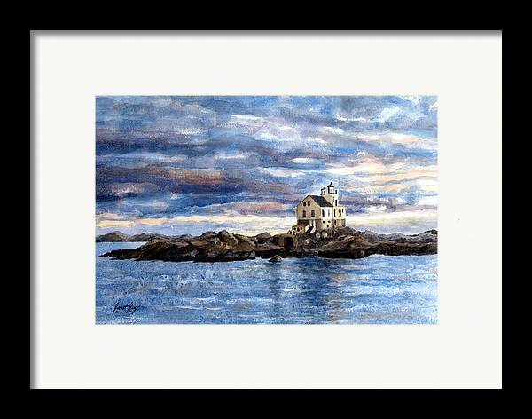 Katland Lighthouse Framed Print featuring the painting Katland Lighthouse by Janet King