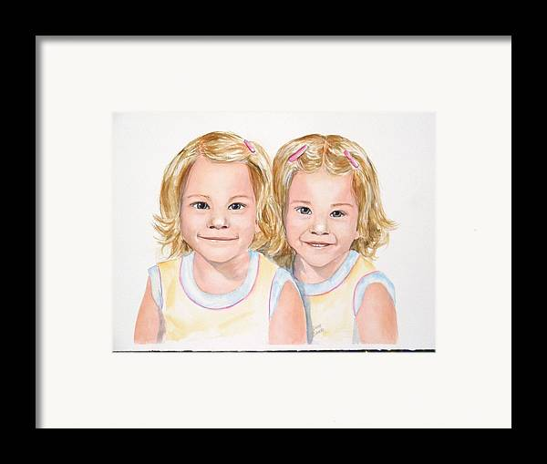 Commissions Framed Print featuring the painting Katy And Kym by Diane Ziemski