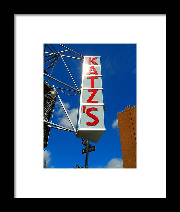 Art Framed Print featuring the photograph Katz's Ny Deli Sign by Candace Garcia