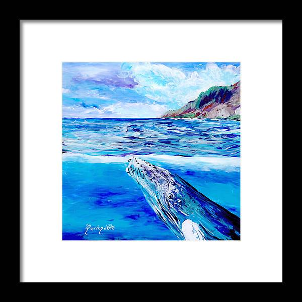 Whale Art Prints Framed Print featuring the painting Kauai Humpback Whale by Marionette Taboniar