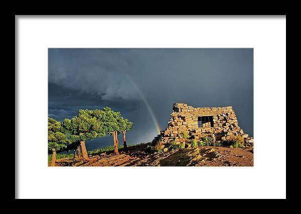 Nature Framed Print featuring the photograph Kawanis Cabin Rainbow, Sandia Crest, New Mexico by Zayne Diamond Photographic