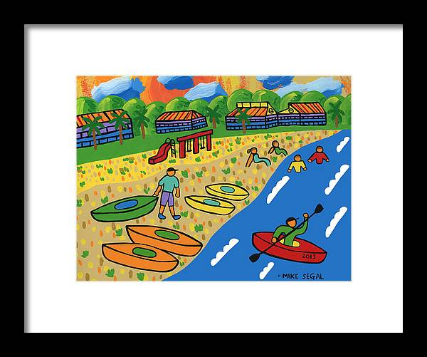 Kayak Framed Print featuring the painting Kayak Beach - Cedar Key by Mike Segal