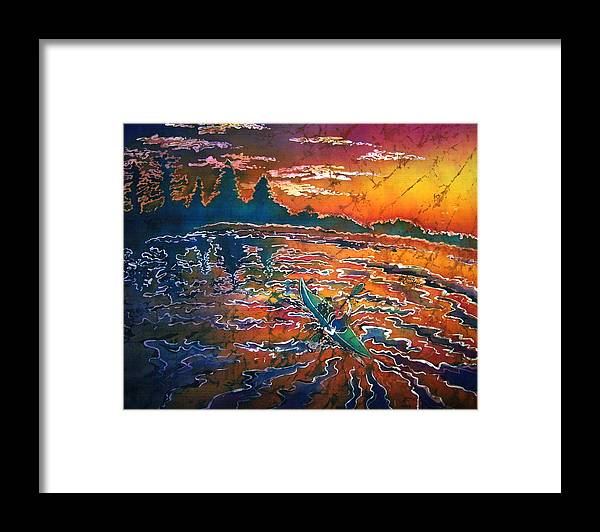 Kayak Framed Print featuring the painting Kayak Serenity by Sue Duda
