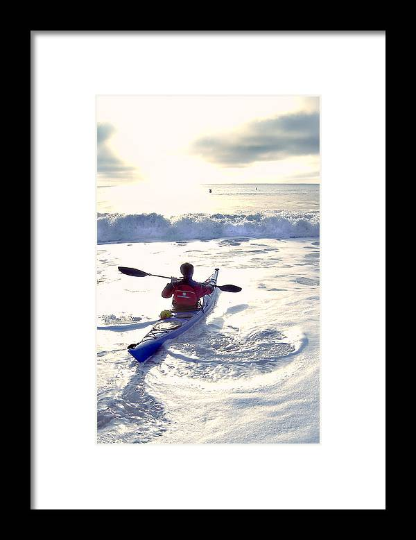 Kayaker Framed Print featuring the photograph Kayakers Sunrise by Robert Ponzoni