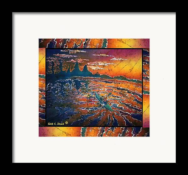 Kayak Framed Print featuring the painting Kayaking Serenity - Bordered by Sue Duda