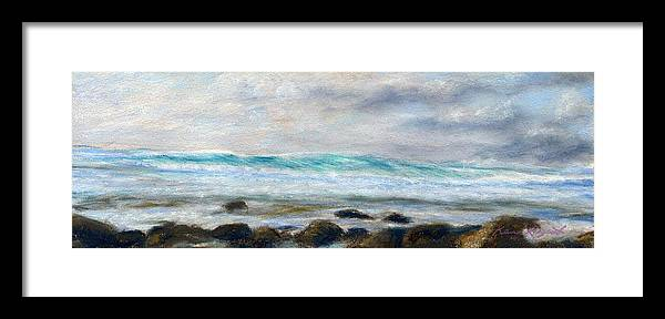 Rainbow Colors Pastel Framed Print featuring the painting Ke' E Wave by Kenneth Grzesik
