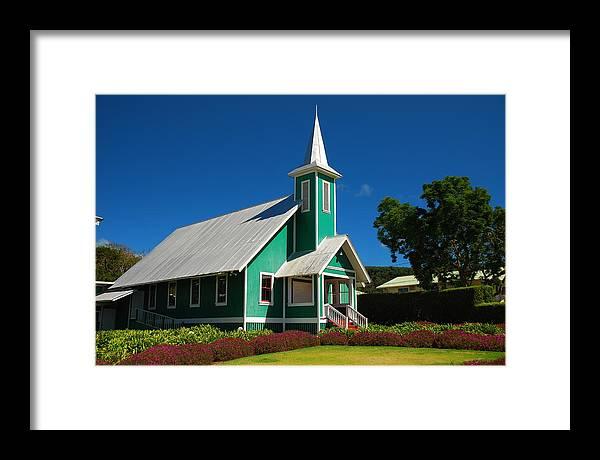 Framed Print featuring the photograph Ke Ola Mau Loa Church - Waimea by Steven Rice