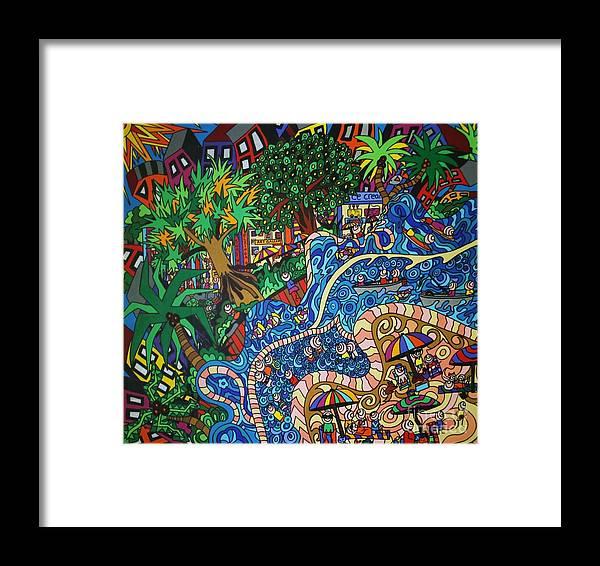 Ocean Art Framed Print featuring the painting KE2 by Karen Elzinga