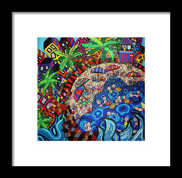 Ocean Art Framed Print featuring the painting KE3 by Karen Elzinga