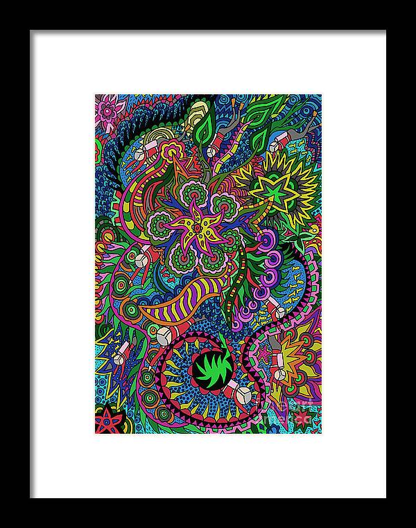 Doodle Art Framed Print featuring the digital art KE5 by Karen Elzinga