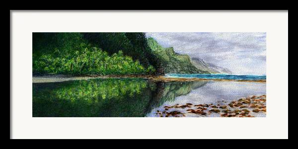 Rainbow Colors Pastel Framed Print featuring the painting Ke'e by Kenneth Grzesik